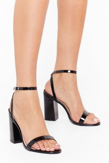 Black Dance to My Tune Faux Leather Wide Fit Heels