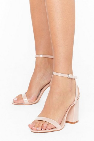 Nude Dance to My Tune Faux Leather Wide Fit Heels
