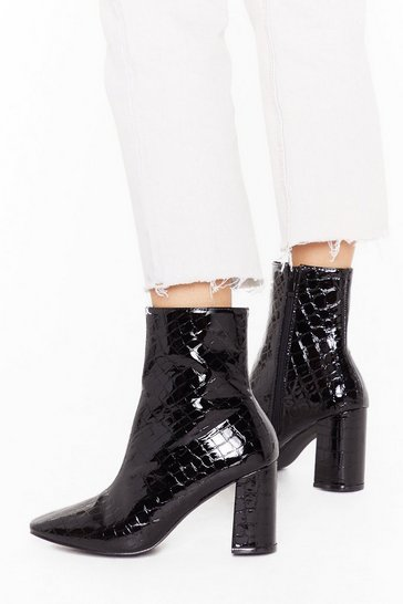 Black These Boots are Made Wide Fit Patent Boots