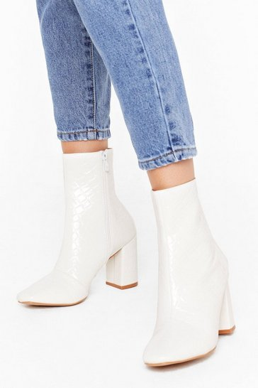 Womens White These Boots are Made Wide Fit Patent Boots