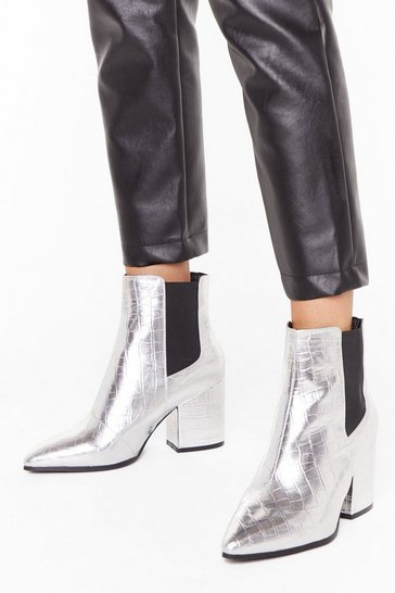 Womens Silver Croc Party Faux Leather Wide Fit Boots