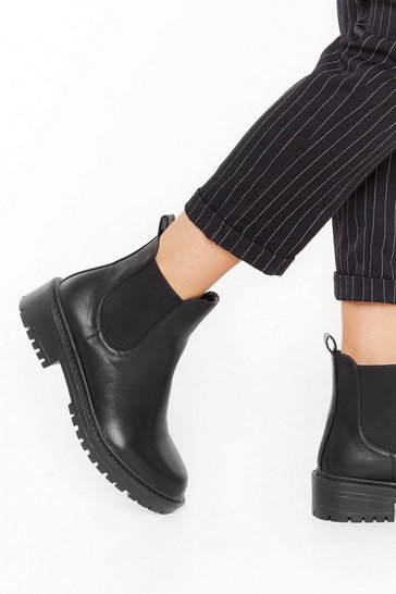 Black No Mean Feet Wide Fit Chelsea Boots