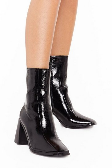 Black Flare for Dramatics Wide Fit Square Toe Boots
