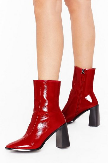 Red Flare for Dramatics Wide Fit Square Toe Boots