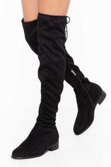 Womens Black Give It All You've Got Wide Fit Thigh-High Boot
