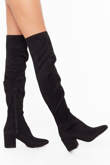 Womens Black Over It Wide Fit Over-the-Knee Boots