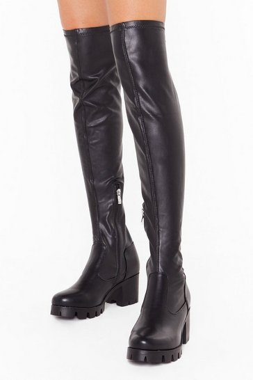 Womens Black Take Over-the-Knee Wide Fit Boots