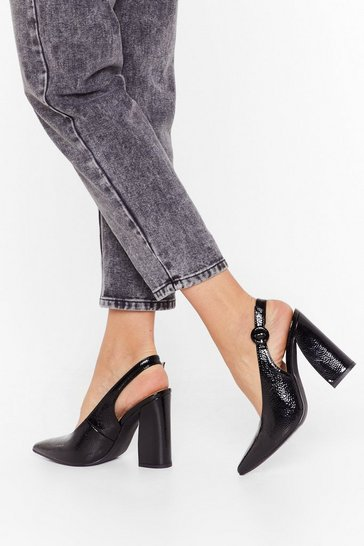 Black Slingback For Good Faux Leather Heels