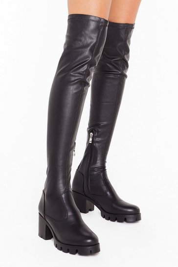 Womens Black Time to Walk Away Faux Leather Over-the-Knee Boots