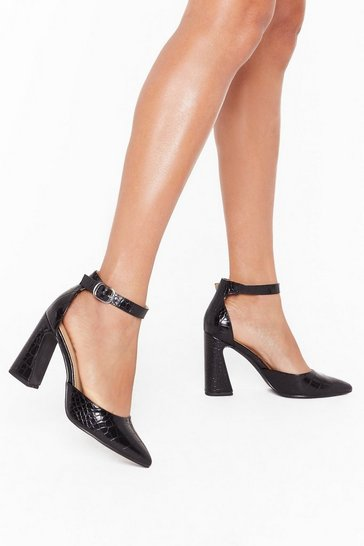 Womens Black We're Open Toe Suggestions Faux Leather Heels