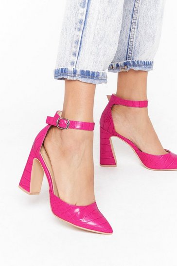 Womens Magenta How Do Heel Faux Leather Flare Heels