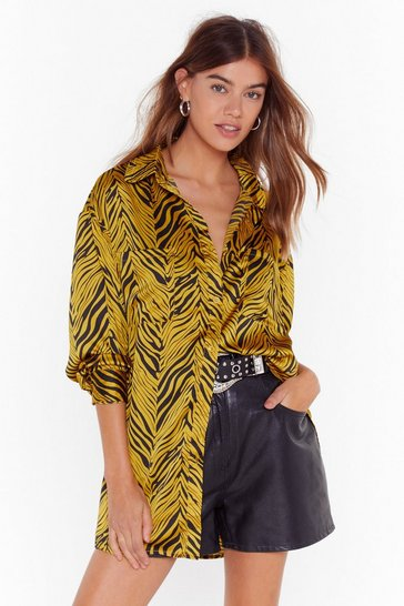 Gold Stripe Where You Want Me Zebra Oversized Shirt