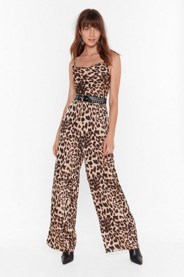 Brown Wild Dancing Leopard Wide-Leg Jumpsuit