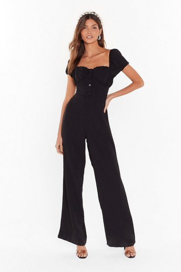 Womens Black I Don't Square Where We Go Puff Sleeve Jumpsuit