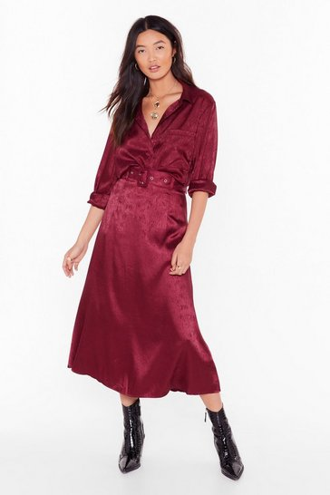 Dark red Smooth Sailing Satin Midi Skirt