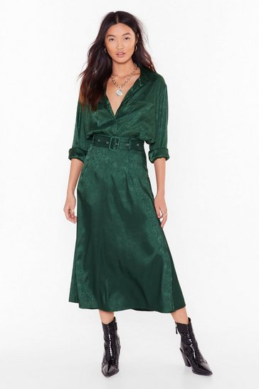 Green Smooth Sailing Satin Midi Skirt