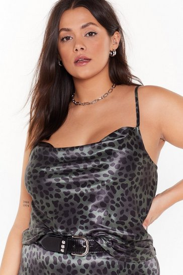 Womens Green One Wild Night Plus Leopard Cowl Top