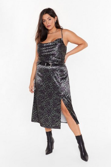 Green One Wild Night Plus Leopard Midi Skirt