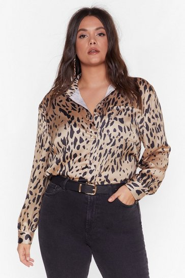 Gold Free the Animal Plus Satin Shirt