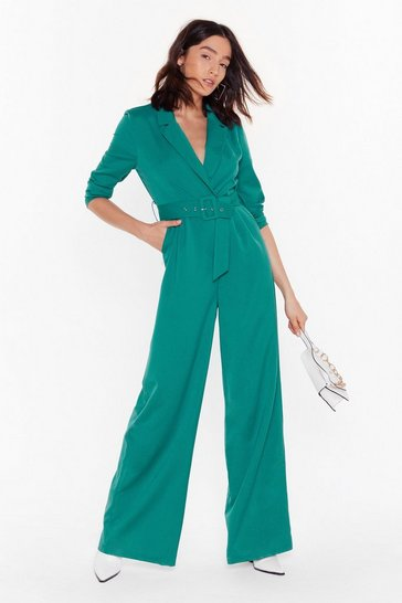 Womens Teal Time to Hustle Belted Wide-Leg Jumpsuit