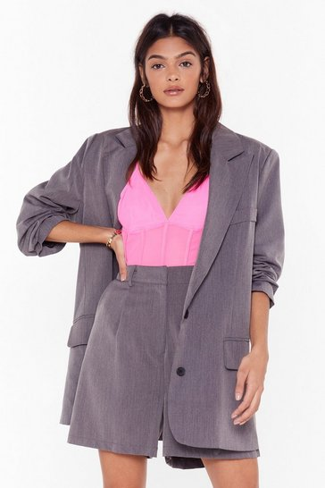 Womens Grey Ain't Nobody's Business Tailored Longline Shorts