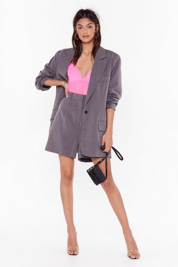 Womens Grey Ain't Nobody's Business Oversized Blazer