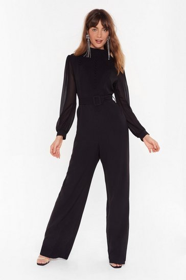 Womens Black You Should Be Dancing High Neck Belted Jumpsuit
