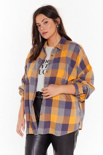 Yellow Check Please Oversized Plus Shirt