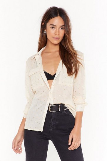 Womens Cream So Star Away Chiffon Shirt