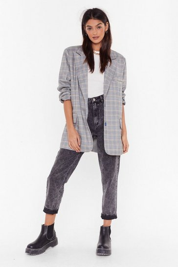 Womens Grey Checked Boyfriend Blazer