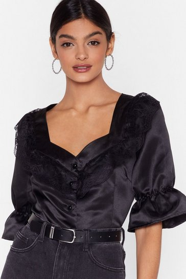 Black Lace Satin Blouse with Sweetheart Neckline