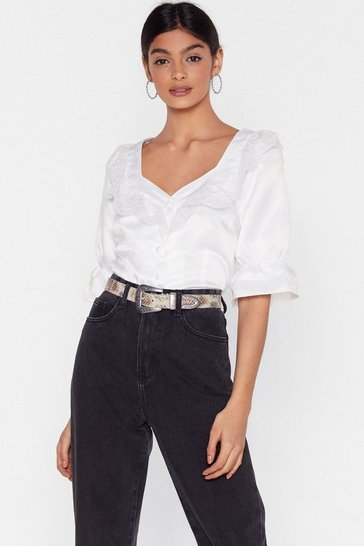Ivory Lace Satin Blouse with Sweetheart Neckline