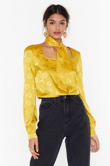 Womens Mustard Cut Your Ties Satin Square Neck Blouse