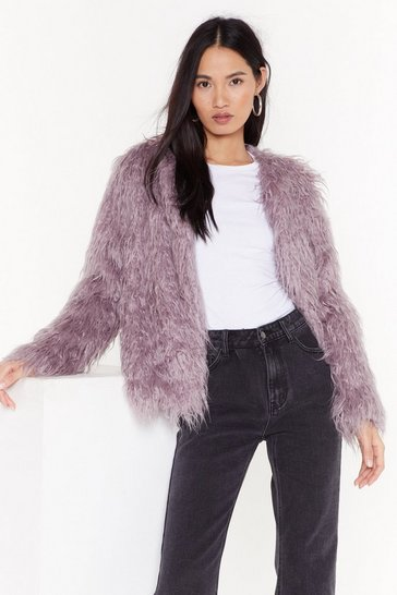 Womens Lilac Came Here Fur Love Faux Fur Coat