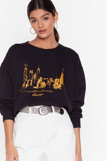 Womens Black Chicago is Always a Good Idea Graphic Sweatshirt