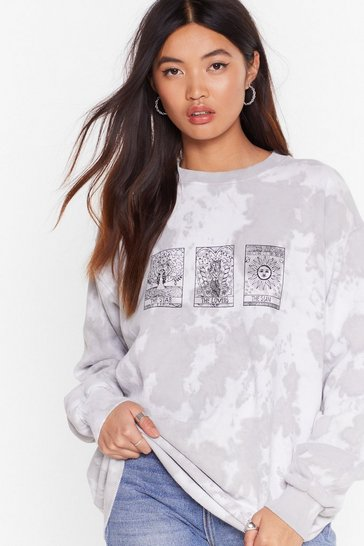 Grey Readin' My Tarot Cards Tie Dye Graphic Sweatshirt