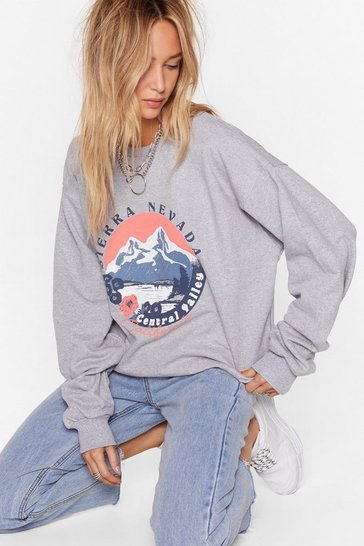 Womens Grey marl Welcome to Central Valley Graphic Sweatshirt