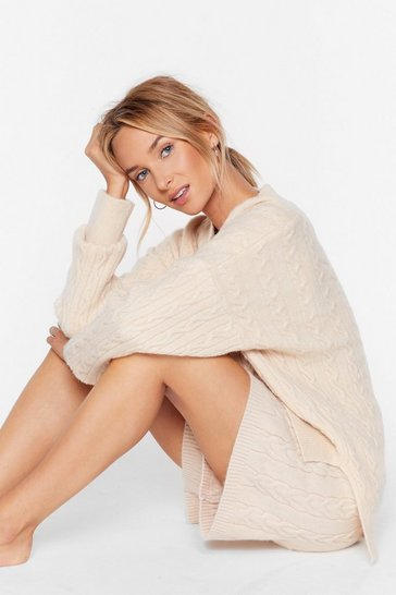 Cream Knit's a Trap Oversized Sweater Lounge Set