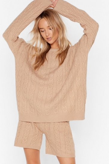 Womens Tan Oversized knitted cable longline lounge short set