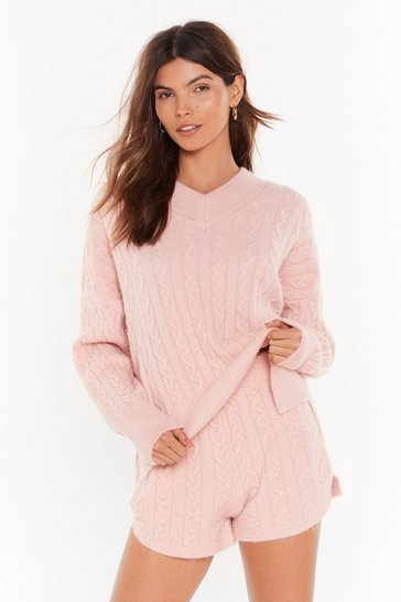 Womens Pink Fluffy soft cable knit v neck sweater & short set