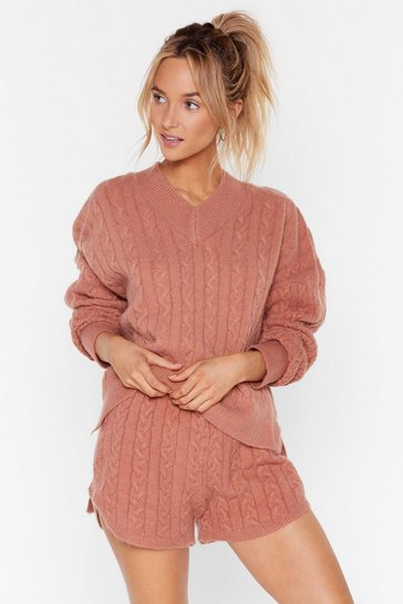 Womens Rust Fluffy soft cable knit v neck sweater & short set