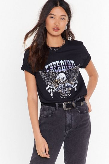 Womens Black Free Bird Ride East Graphic Tee