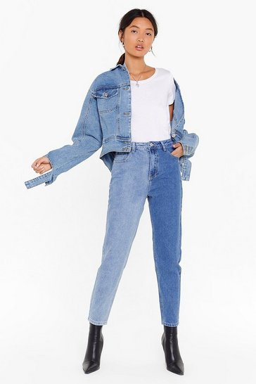 Blue It Takes Two Tone Denim Mom Jeans