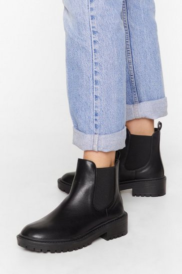 Womens Black Faux leather cleated sole chelsea boots