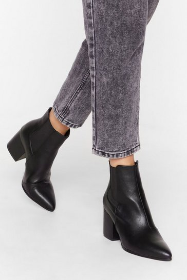Womens Black Faux leather heeled chelsea boots