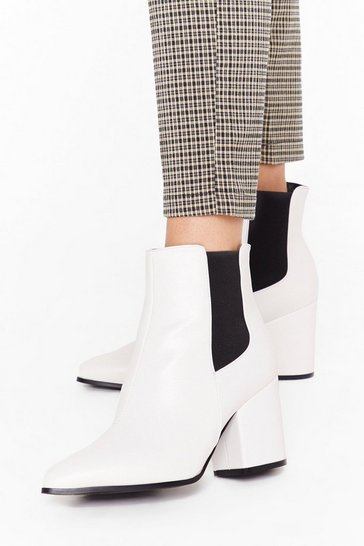 White Sneak Off Faux Leather Chelsea Boots