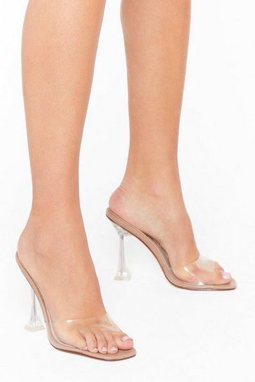 Camel We're an Open Book Clear Stiletto Mules