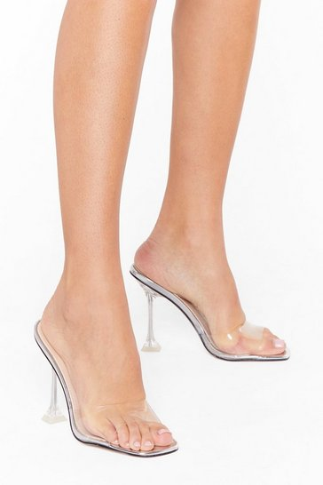 Silver We're an Open Book Clear Stiletto Mules