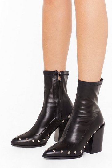 Womens Black That's Faux Leather Gonna Happen Embellished Boots