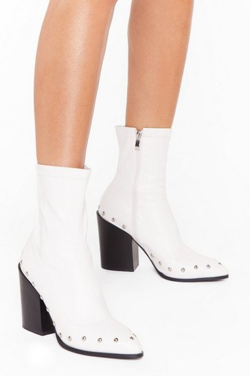 White That's Faux Leather Gonna Happen Embellished Boots